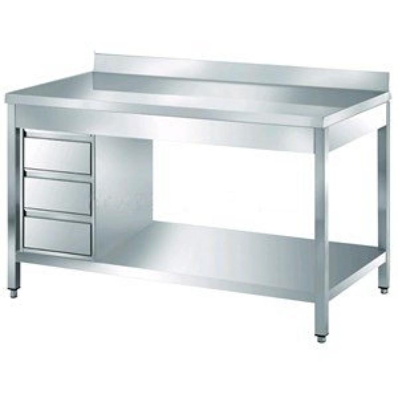 Tavolo acciaio da lavoro inox con cassettiera e alzatina