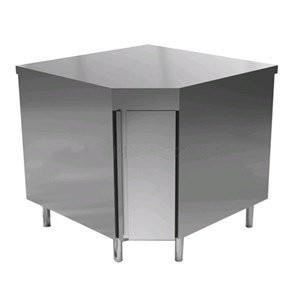 Tavolo inox ad angolo 90° con ante