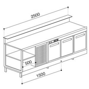 Banco bar refrigerato statico BBL2500AB3P