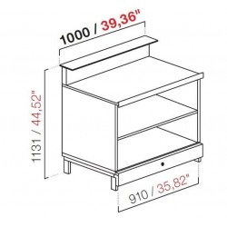 BBL1000AB neutral bar counter with counter top setting