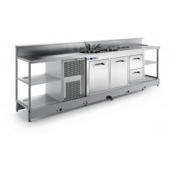 Neutral bar counter BBL2000AB with counter top setting