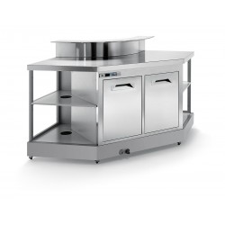 Curved corner bar ° CB1 / 90 ° AB with provision for counter top