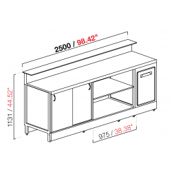 BBL2500 neutral bar counter with counter top setting