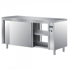 Stainless steel tables with hinged doors
